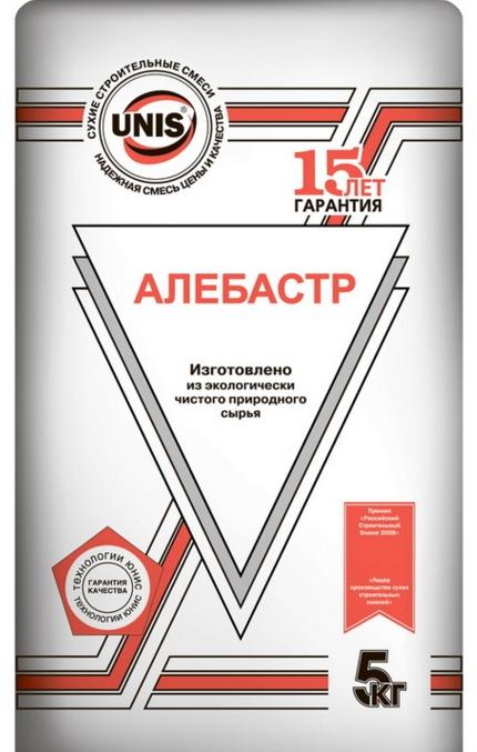 Алебастр Юнис,  5кг (4шт/уп, 120шт/пал)